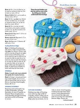 Cupcake Topflappen Häkeln Crochet Cupcake Potholder Crochet