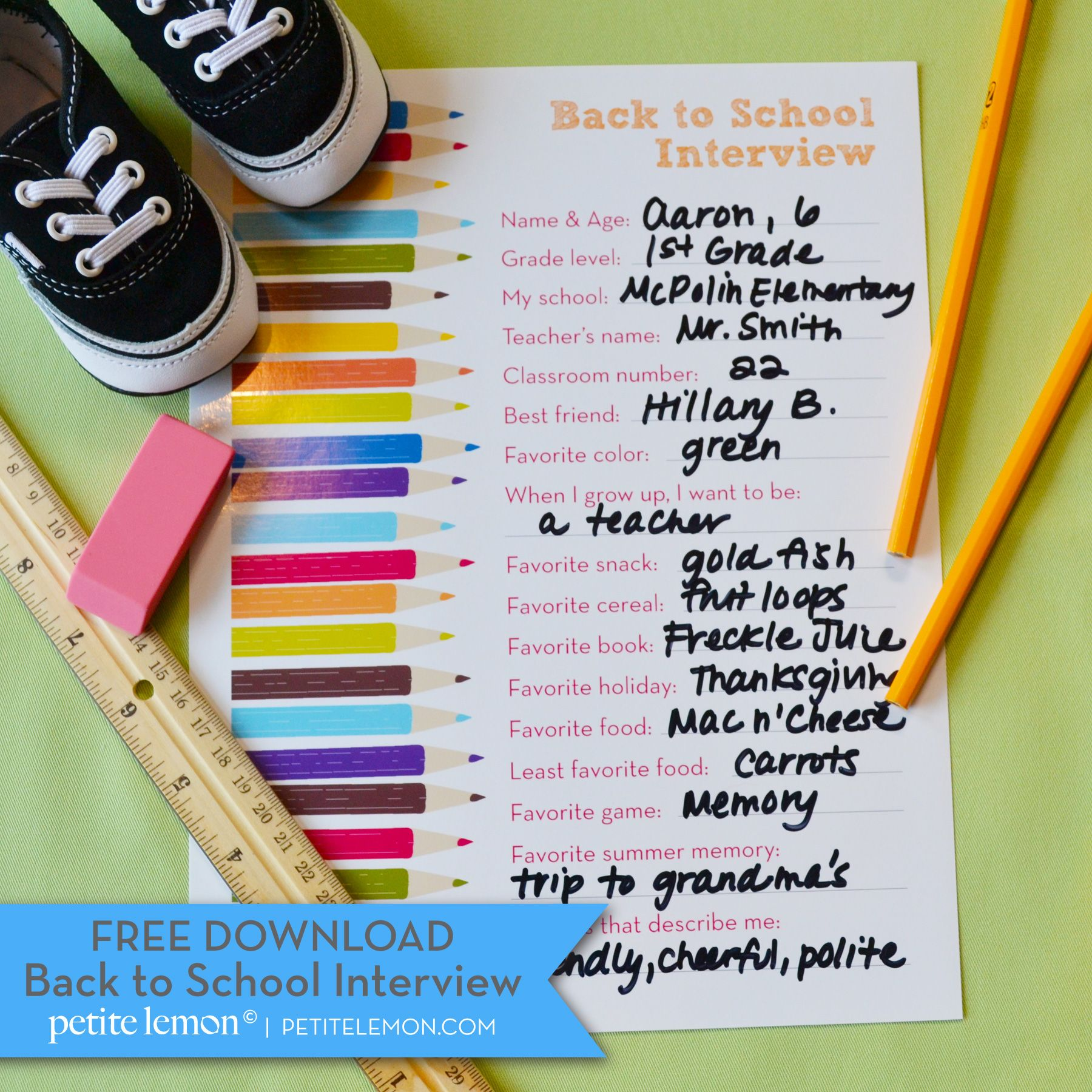 BACK TO SCHOOL INTERVIEW - started this this year, the kids enjoyed answering it and we loved hearing their answers.  Can't wait to look at these years from now.  We added their height/weight and the date then laminated them to go into their files (which are also pinned on this board).