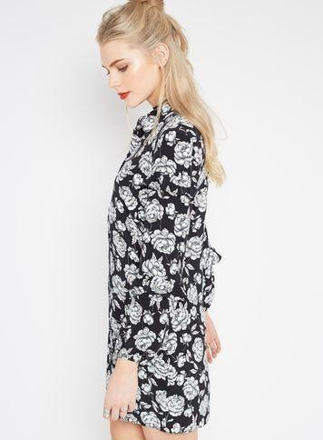 Rose Ruffle Shirt Dress