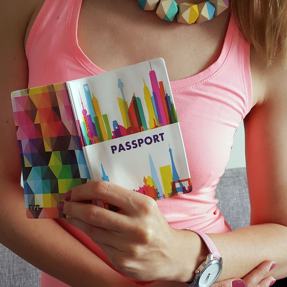 Passport Holder MEGACITIES, vinyl cover Document ID Travel case protector skin…