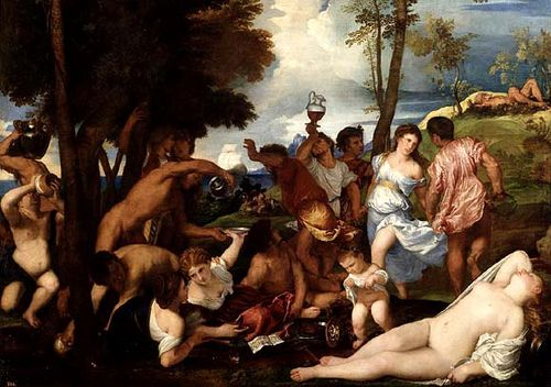 """PINTURA ::: """"La Bacanal de los Andrios"""", 1525 - TIZIANO - Pintor Veneciano del Renacimiento, en su época Venecia era el principal punto del comercio de Pigmentos de calidad, las mejores lacas rojas y el lapislázuli más caro, recibian pigmentos de Oriente difíciles de conseguir. Tiziano utilizaba una amplica gama de colores incluso oropimente"""