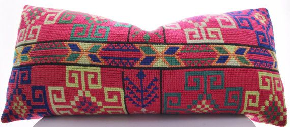 Hmong Pillow Cover Vintage, Textile, Ethnic, Handwoven, Hand Stitched, Pink, Lumbar