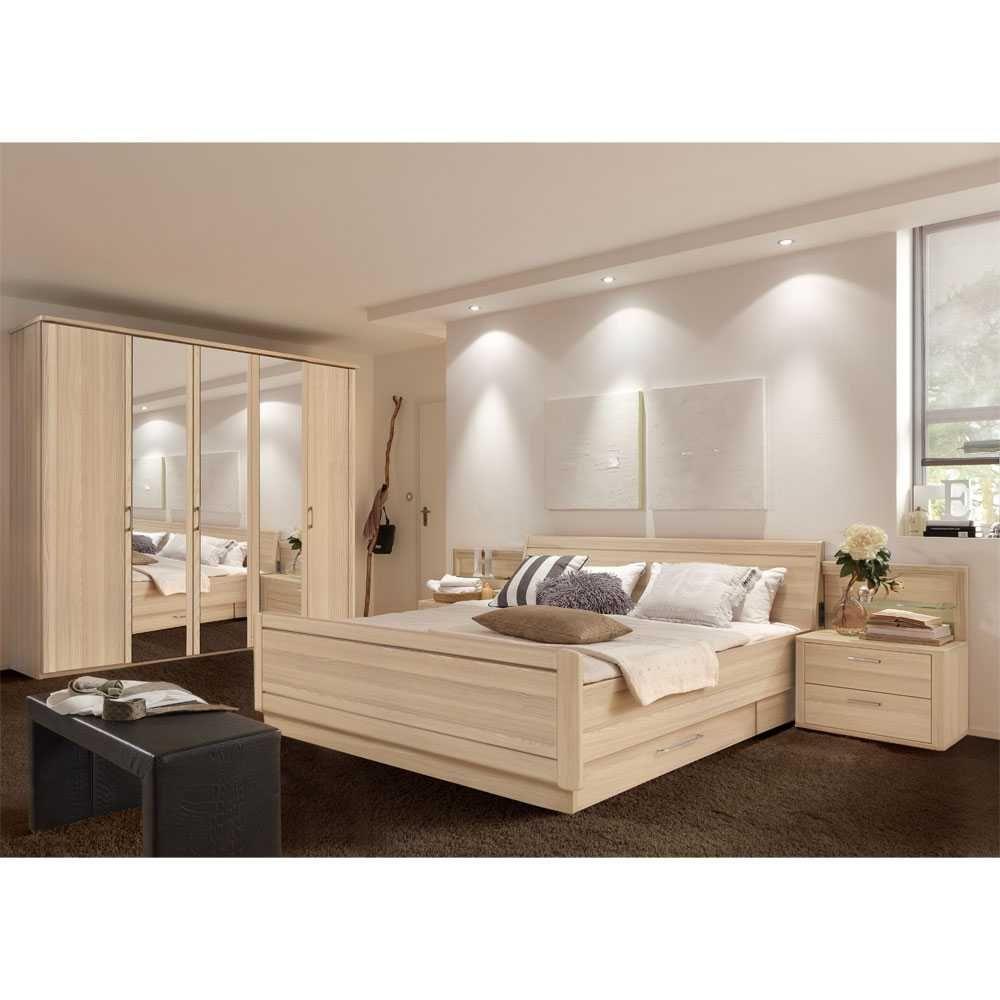 Schlafzimmer Set in Esche Dekor mit Stauraumbett (4-teilig) Jetzt ...