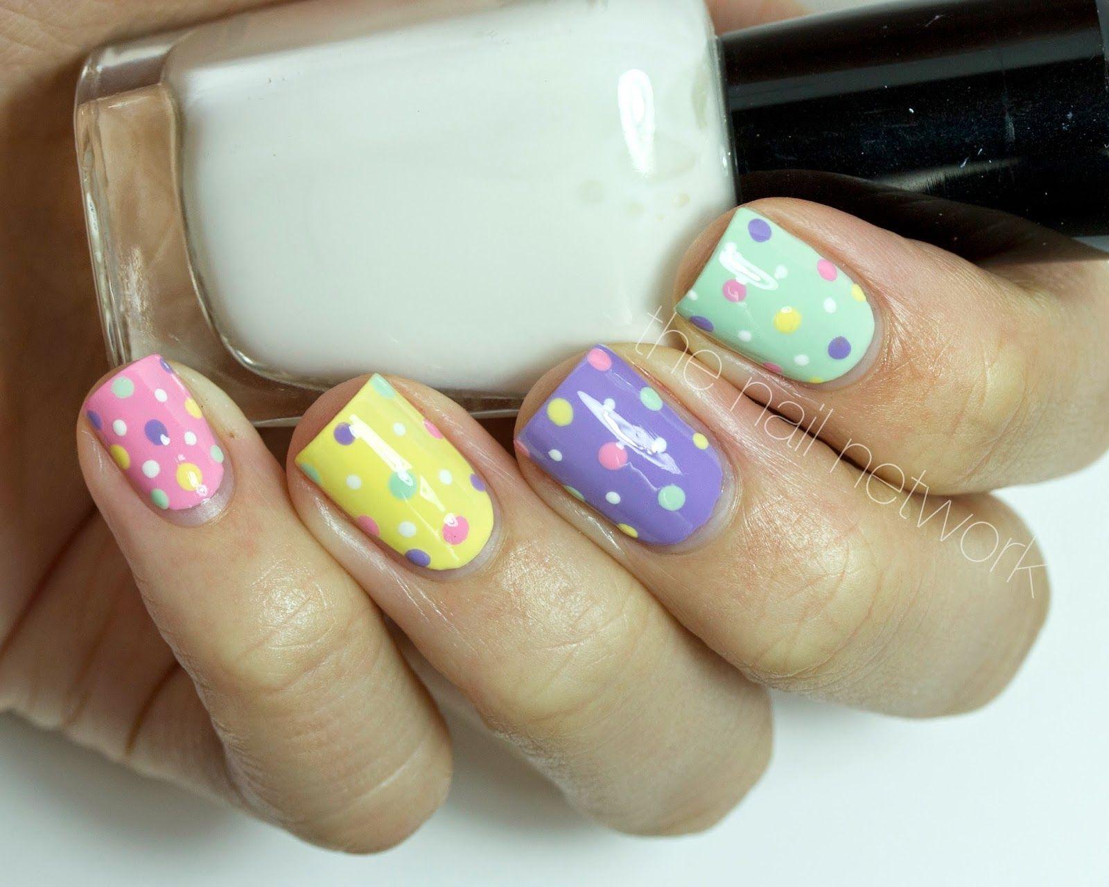 Polka Dot Easter Nail Art Design  Easter nail art Easter nails and