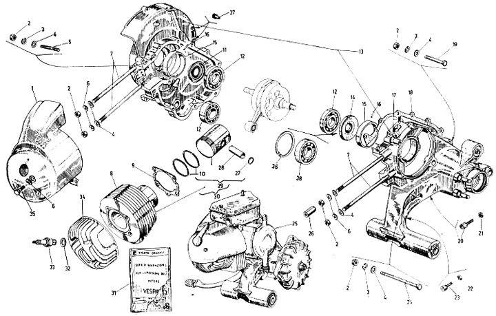 Ersatzteile für Motorroller über Explosionszeichnungen