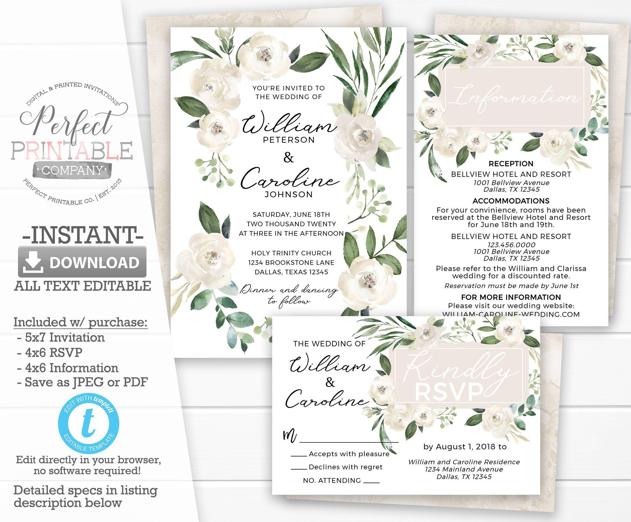 Beige Floral Wedding Invitation Set White Rose Wedding Etsy Navy Wedding Invitations Wedding Invitation Packages Wedding Invitation Sets