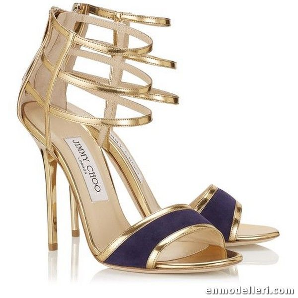 bd258bd86629 Jimmy Choo Tolka Gold Mirror Leather and Bilberry Patent Sandals. They know  shoes.