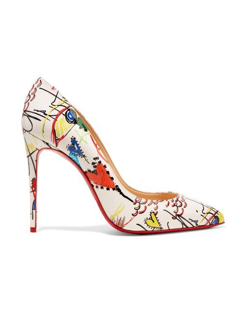 d37648b2f0f Women's White Pigalle 100 Printed Patent-leather Pumps | Shoes ...