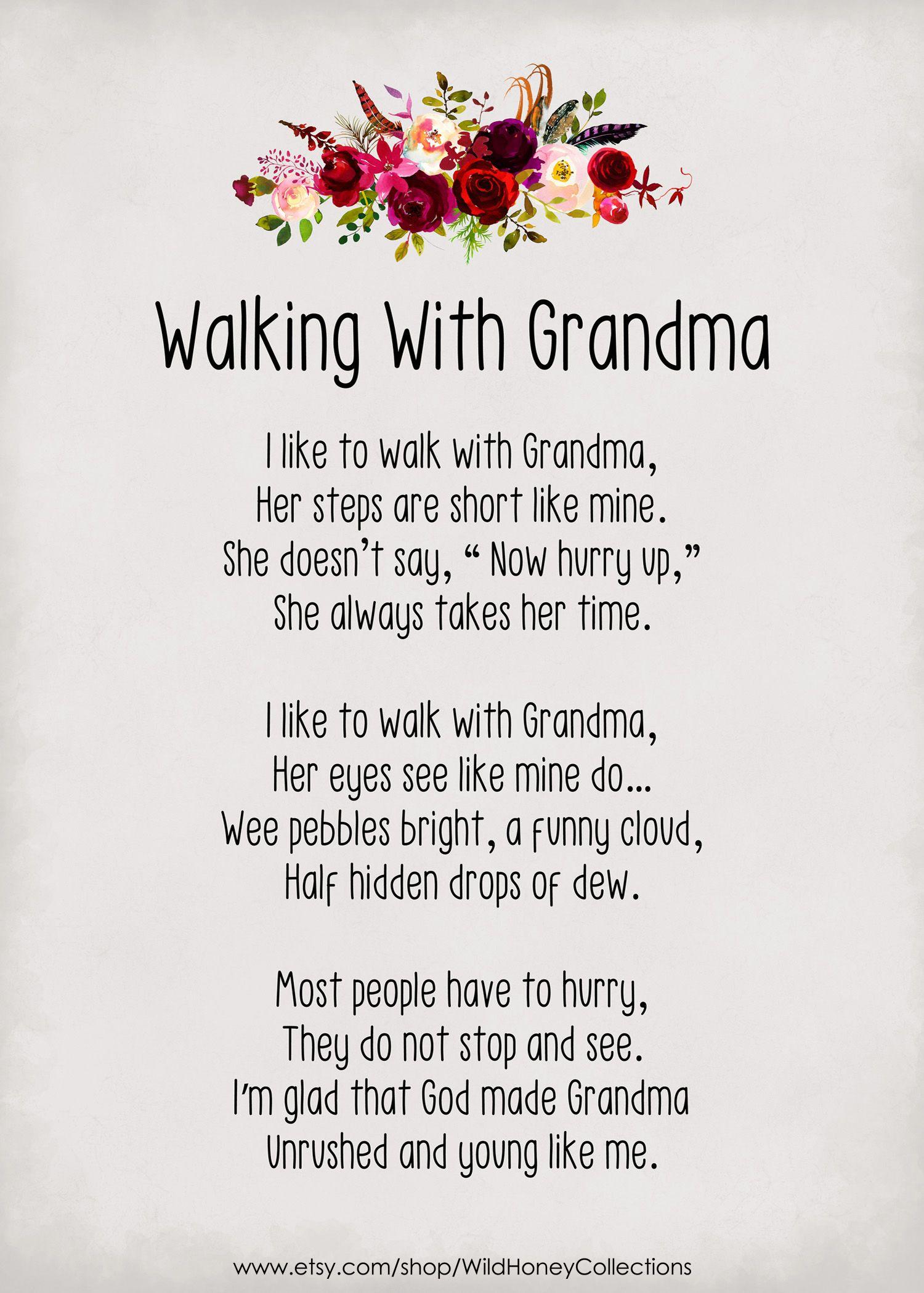 Walking With Grandma Poem Gift For Grandma Granny Mimi Meme Grams Grandparent Gift Instant Digital Download In 2021 Grandma Poem Grandma Quotes Grandparents Quotes