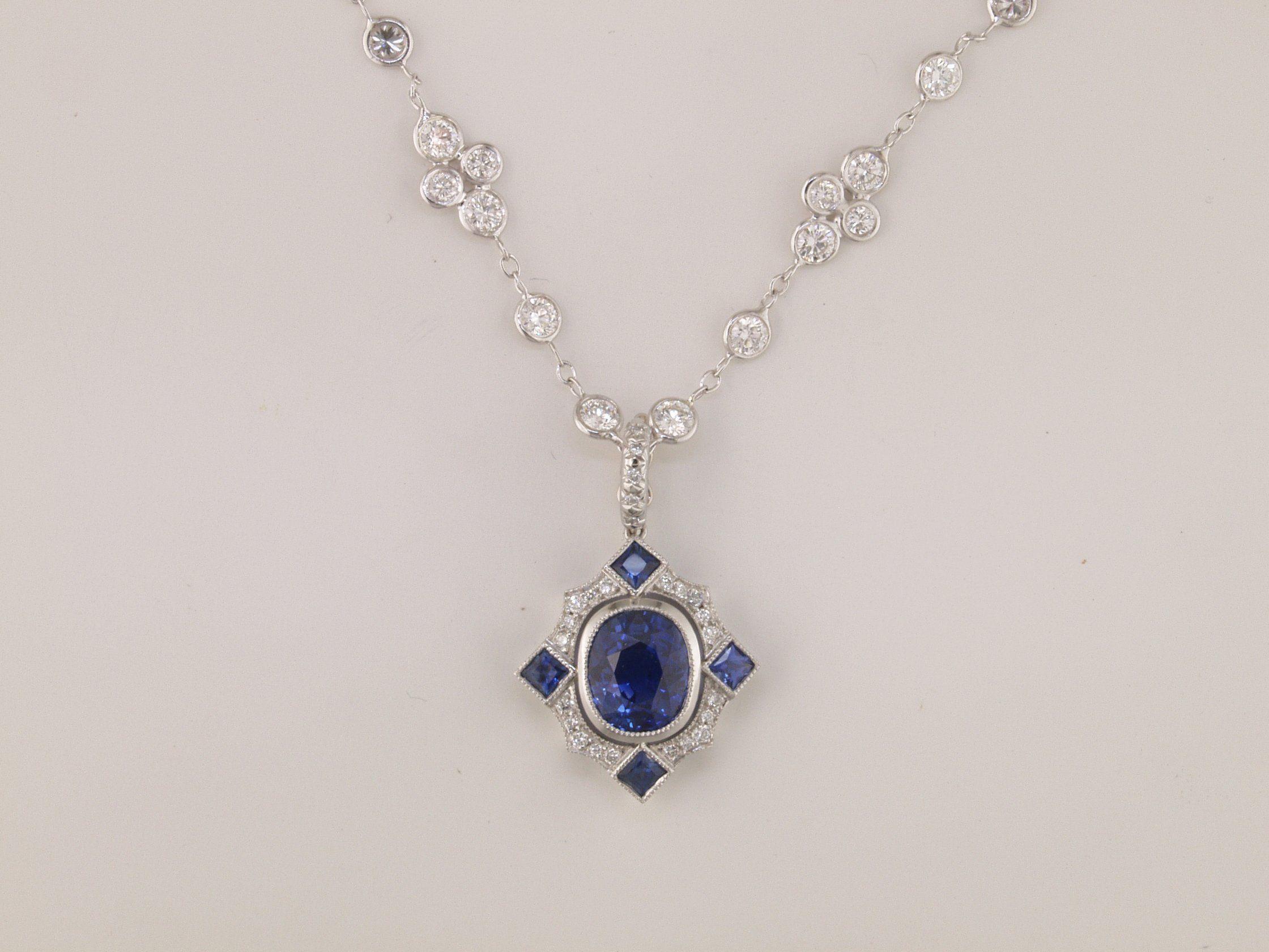Ghotic platinum sapphire and diamond necklace