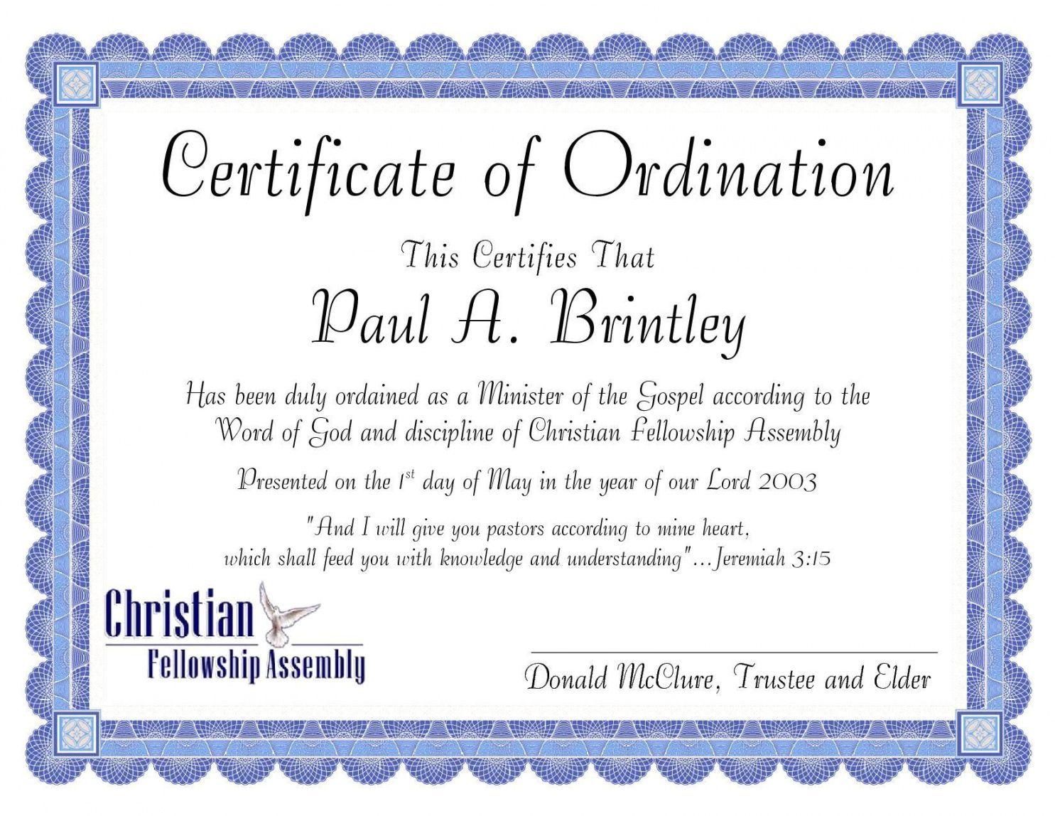 church ordination certificates templates urbancurlz elder