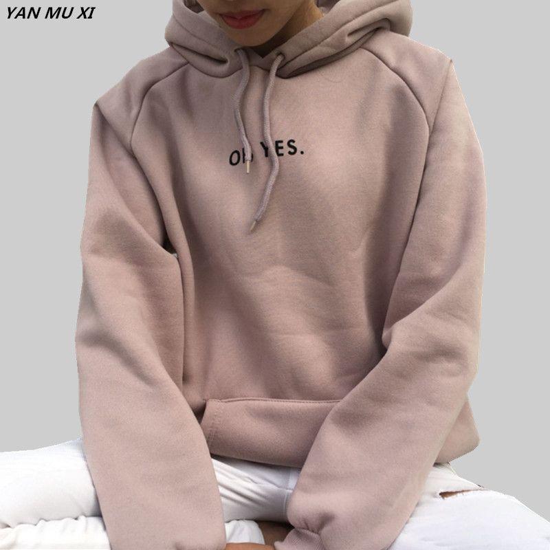 Oh Yes2017 Yeni Moda Kadife Uzun Kollu Mektup Harajuku Baski Kiz Isik Pembe Kazaklar O Boyun Women Hoodies Sweatshirts Hoodies Womens Womens Sweatshirts Hoods
