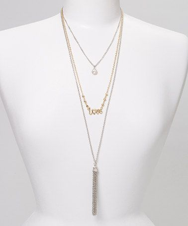 Take a look at this Gold & Silver 'Love' Tassel Necklace Set by Fiesta Jewelry on #zulily today!