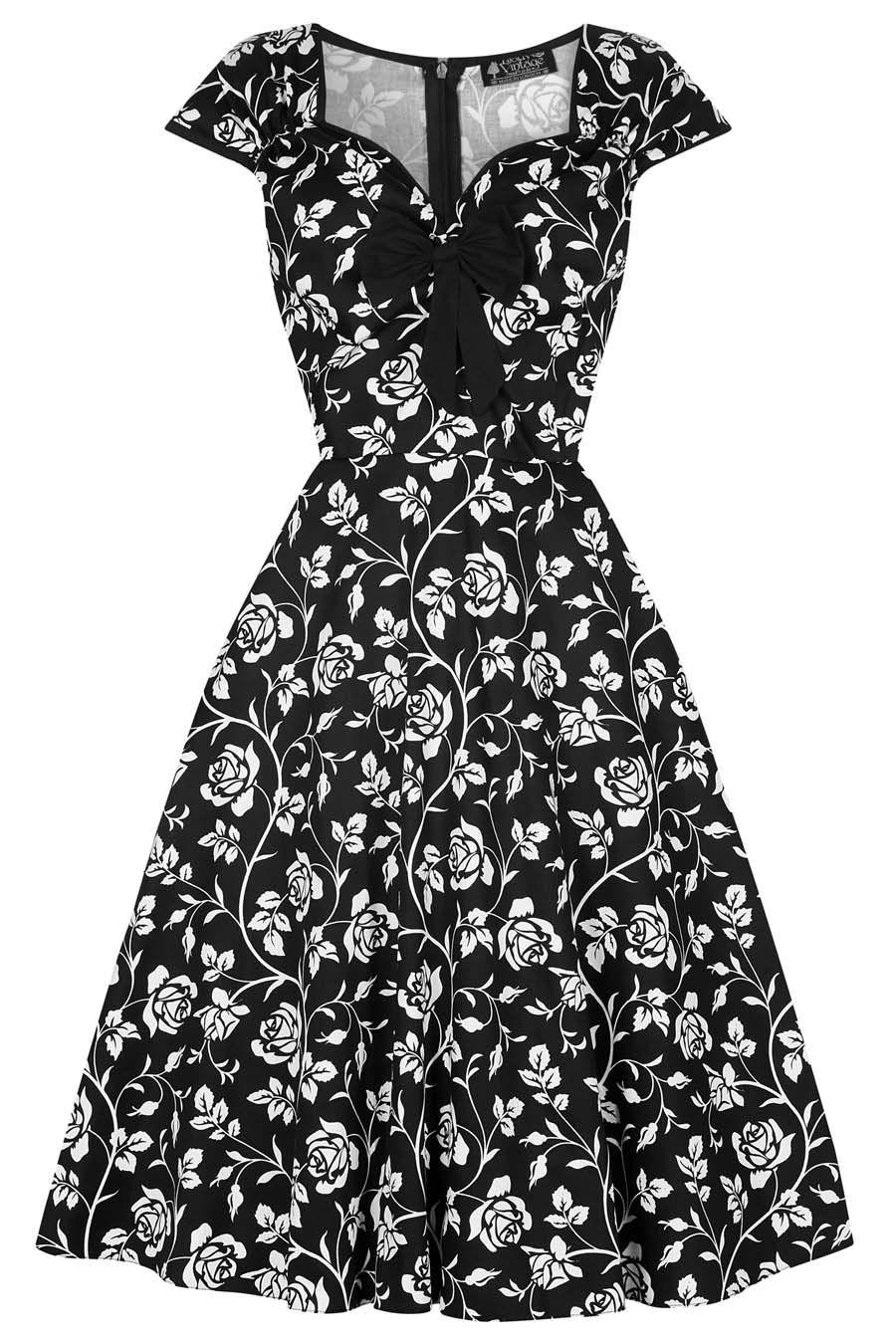 f6162eef4710 Černé šaty s bílými růžemi Lady V London Isabella Nádherné šaty z londýnské  módní dílny