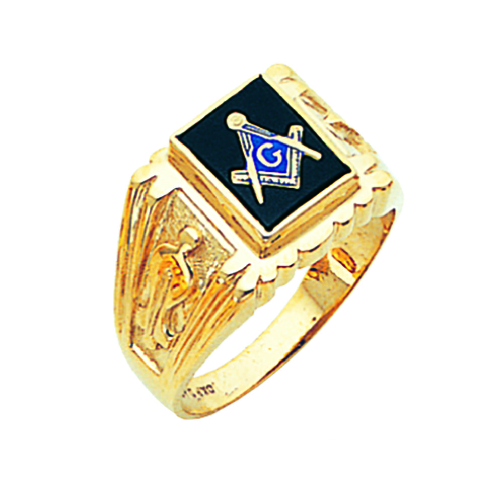 Masonic Ring Open Back In 10k Gold Fls1131bl 10k 648 00 Fratline Emblematics Custom Fraternal Lapel Pins Mason In 2020 With Images Masonic Jewelry Masonic Ring Masonic