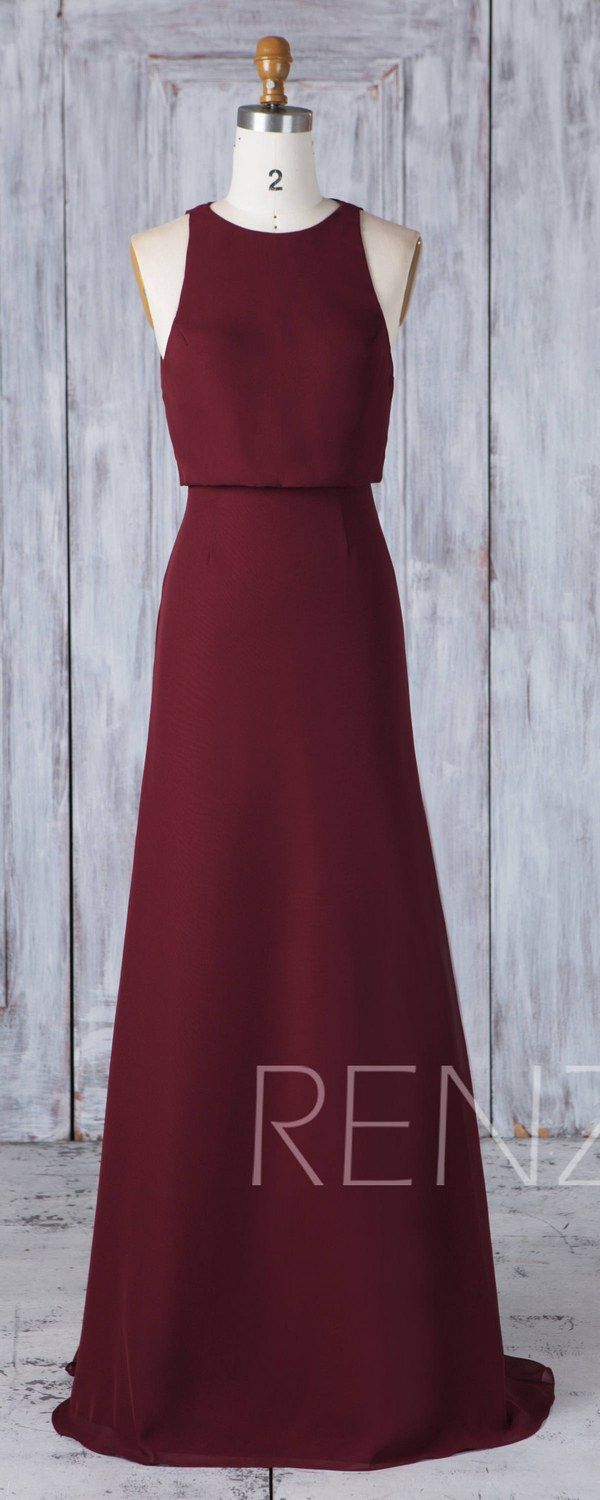 Bridesmaid dress maroon chiffon wedding dressboat neck fitted maxi