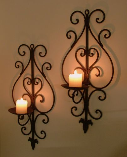 Pair Of Wrought Iron Wall Candle Holders Dark Brown Wide With