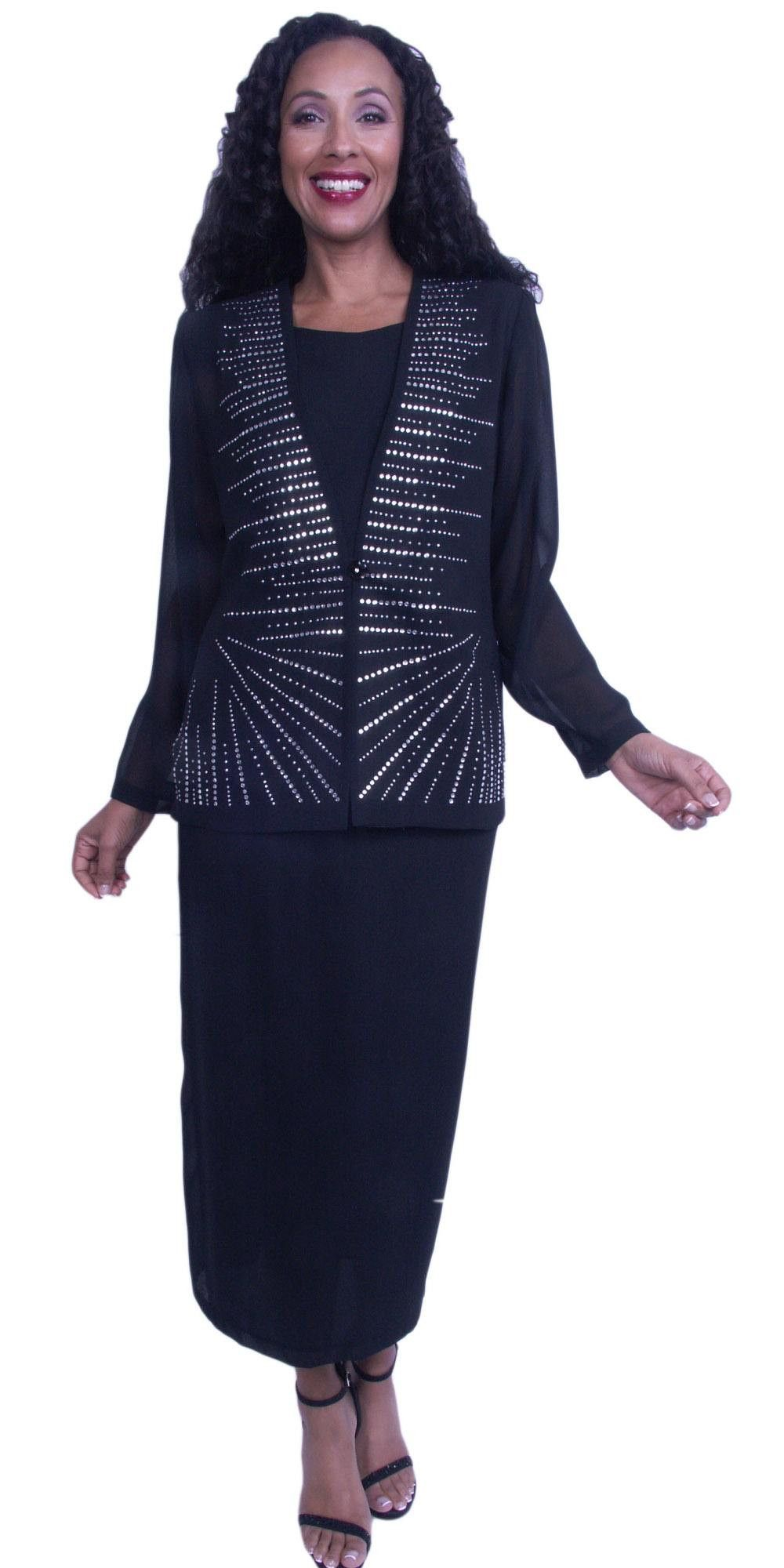 Hosanna black plus size formal dress long sleeve embellished