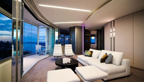 Apartment White Sofa And Cushion Modern Luxury Apartment Interior