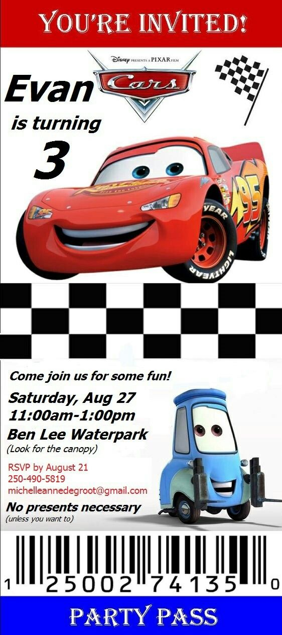Evans cars birthday invitation fiesta tematica de cars evans cars birthday invitation stopboris Images