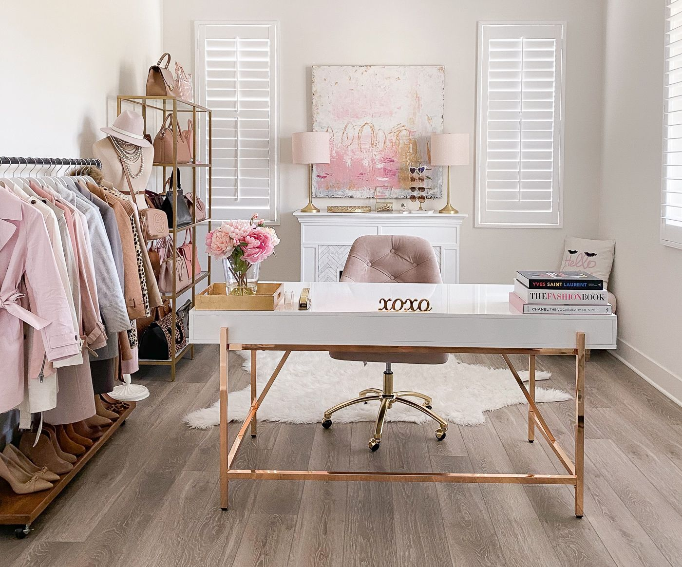 Pink Gold And White Home Office Decor Stylish Petite In 2020 Pink Home Offices Gold Office Decor Chic Office Decor