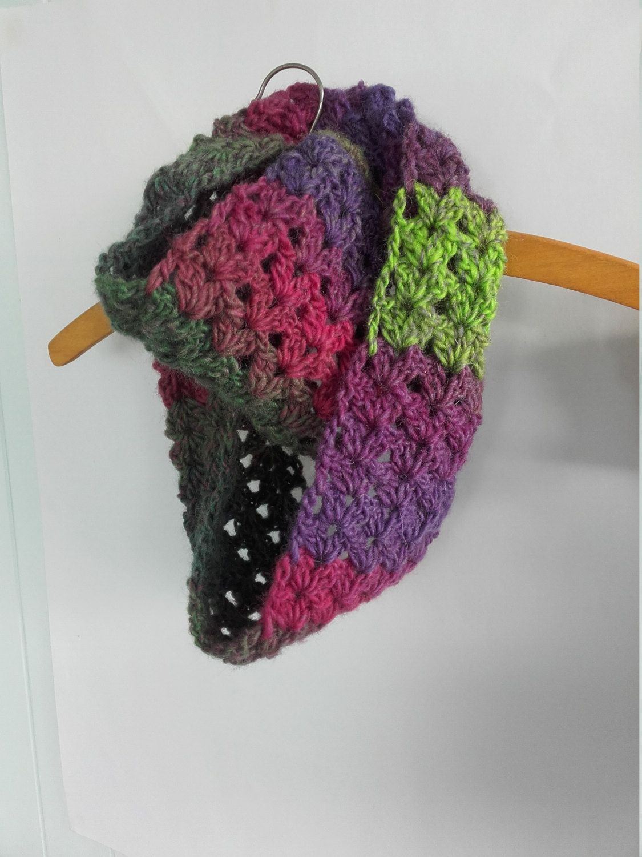 Ladies scarf, infinity scarf, wool cowl, unique scarf, pink, green, purple, pure wool, crochet scarf by littlejackrabbit on Etsy
