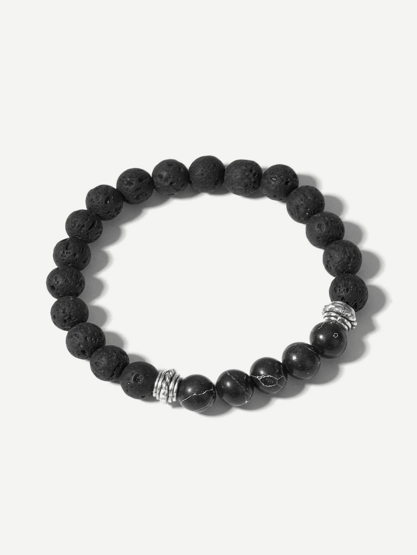 Men Textured Beaded Bracelet Mens Jewelry Bracelet Beaded Bracelets Bracelets