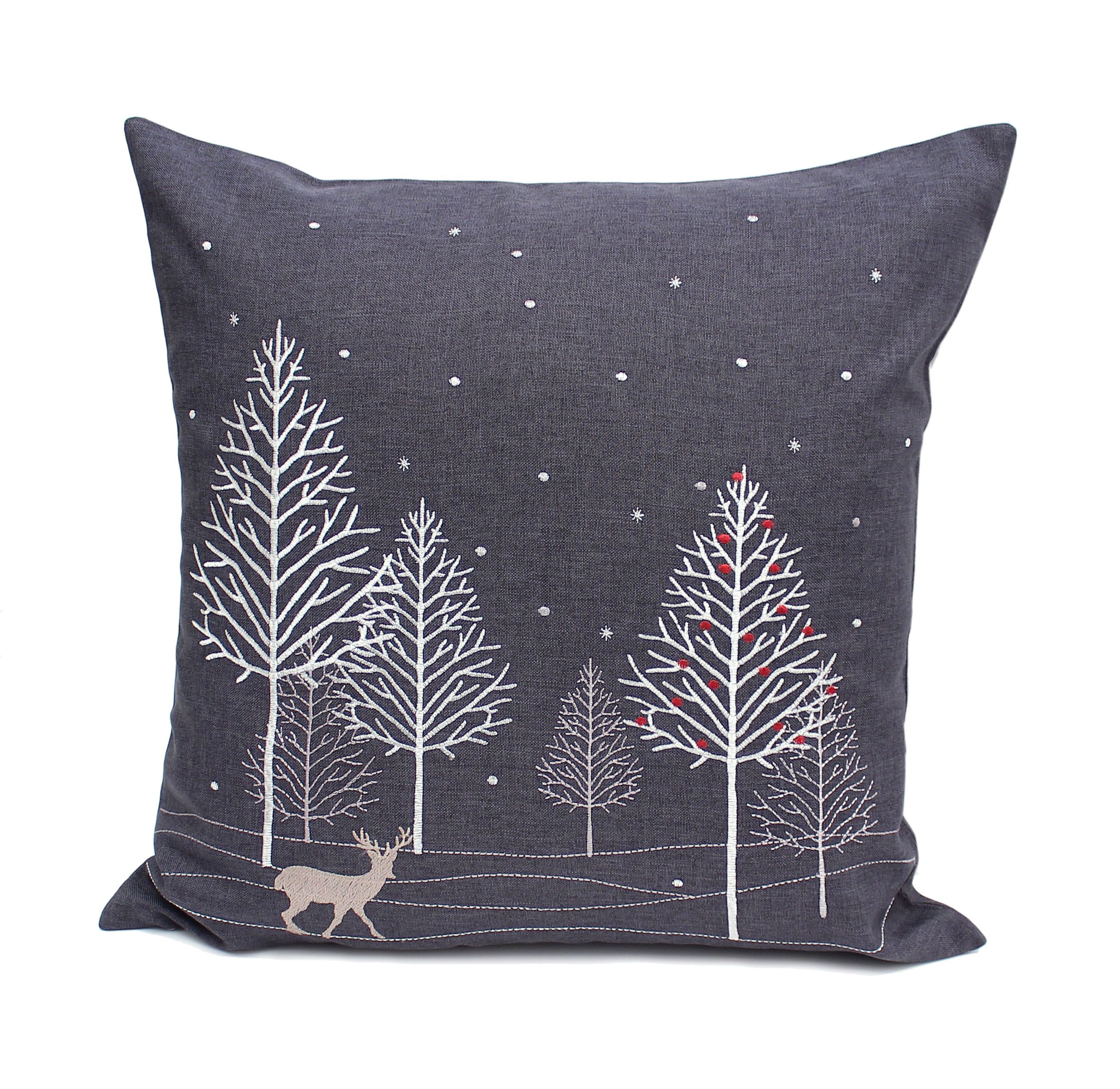 Winter Woods Embroidered Christmas Cushion 45cm x 45cm