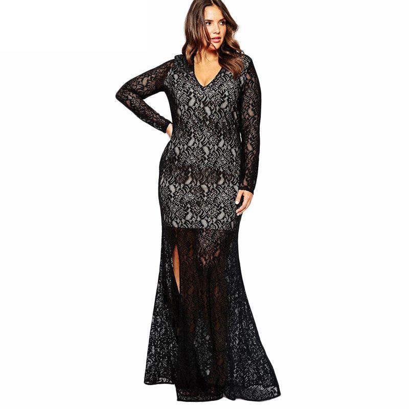 2bc89f1e86213 New dress women sexy long sleeve Elegant dress lace party dresses vestidos  black dress plus size 3xl 4xl 5xl 6xl 7xl 8xl