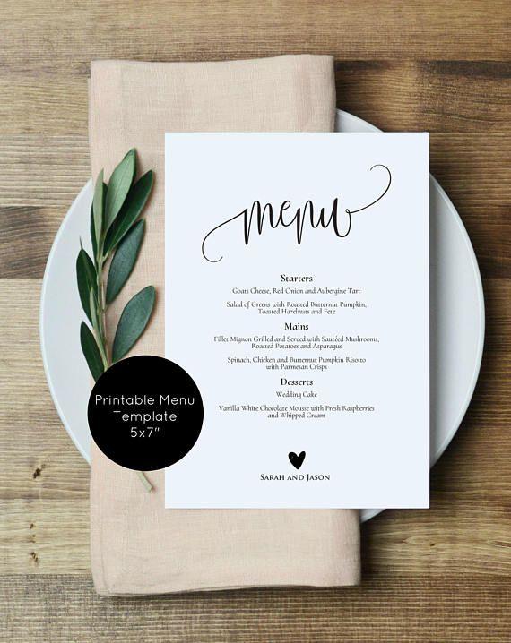 Wedding Menu Printable, Rustic Menu, Printable Wedding Menu Template, Editable Menu Card, Edit with TEMPLETT, WLP-ELE 366 #weddingmenuideas