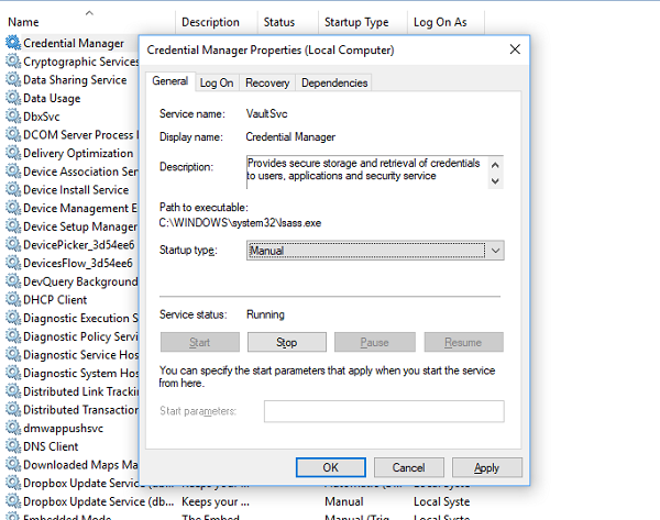 How to fix the Error 1084 for on Windows 10 Windows