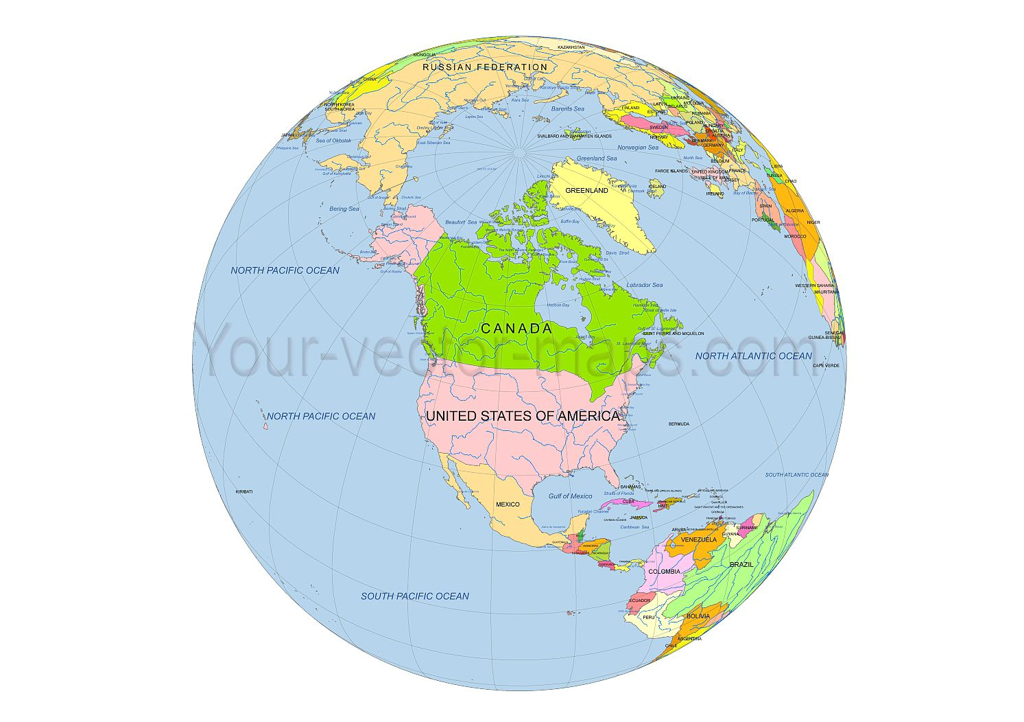 Simple globe map of north america country name ocean name simple globe map of north america country name ocean name original in vector publicscrutiny Image collections