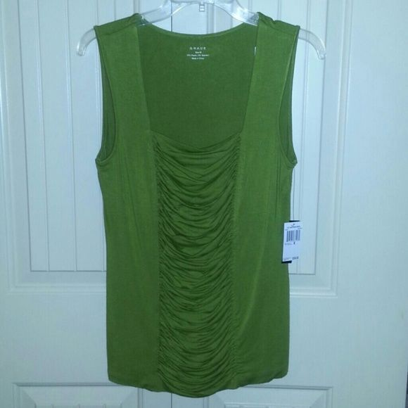 Lime Green square neck sleeveless top Lime Green square neck sleeveless top Grace Tops