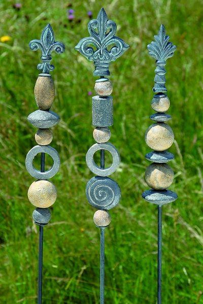 Tuinprikker grijze stenen set 3 garden pottery for Basteltipps gartendeko