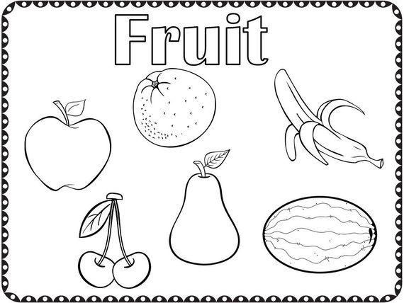 Coloring Pages Fruit and Vegetables Kindergarten Preschool