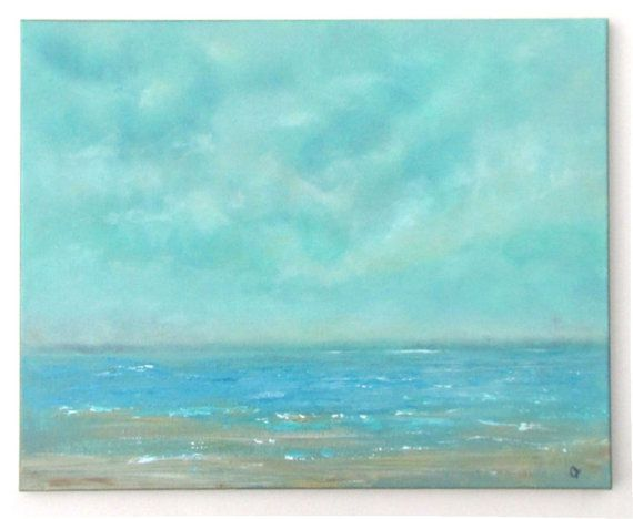 Beach painting, Soft cloud ocean painting, large 16x20 oil painting. Aqua and turquoise peaceful seascape