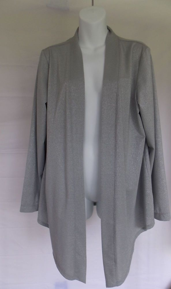 Chico's 2 Additions Cardigan Metallic Sparkle Jacket large Women's Open Front #Chicos #cardigan #Evening