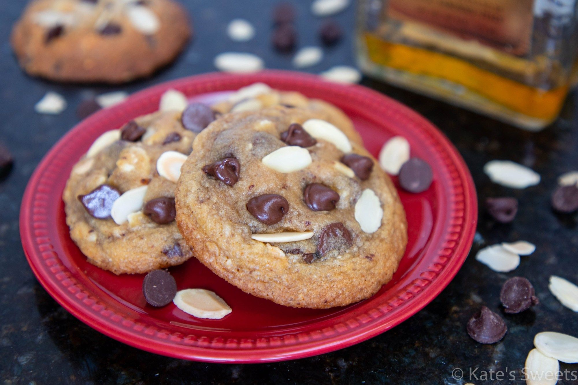 Amaretto Chocolate Chip Cookies Kate S Sweets Recipe Cookie Recipes Gooey Chocolate Chip Cookies Food
