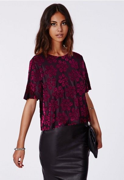 08bcc5e9d3 This  opulent  velvet  flocked  floral  shelltop fits into the dark   bohemian  winter trend with ease. In black  slinky fabric with rich purple  flocking and ...