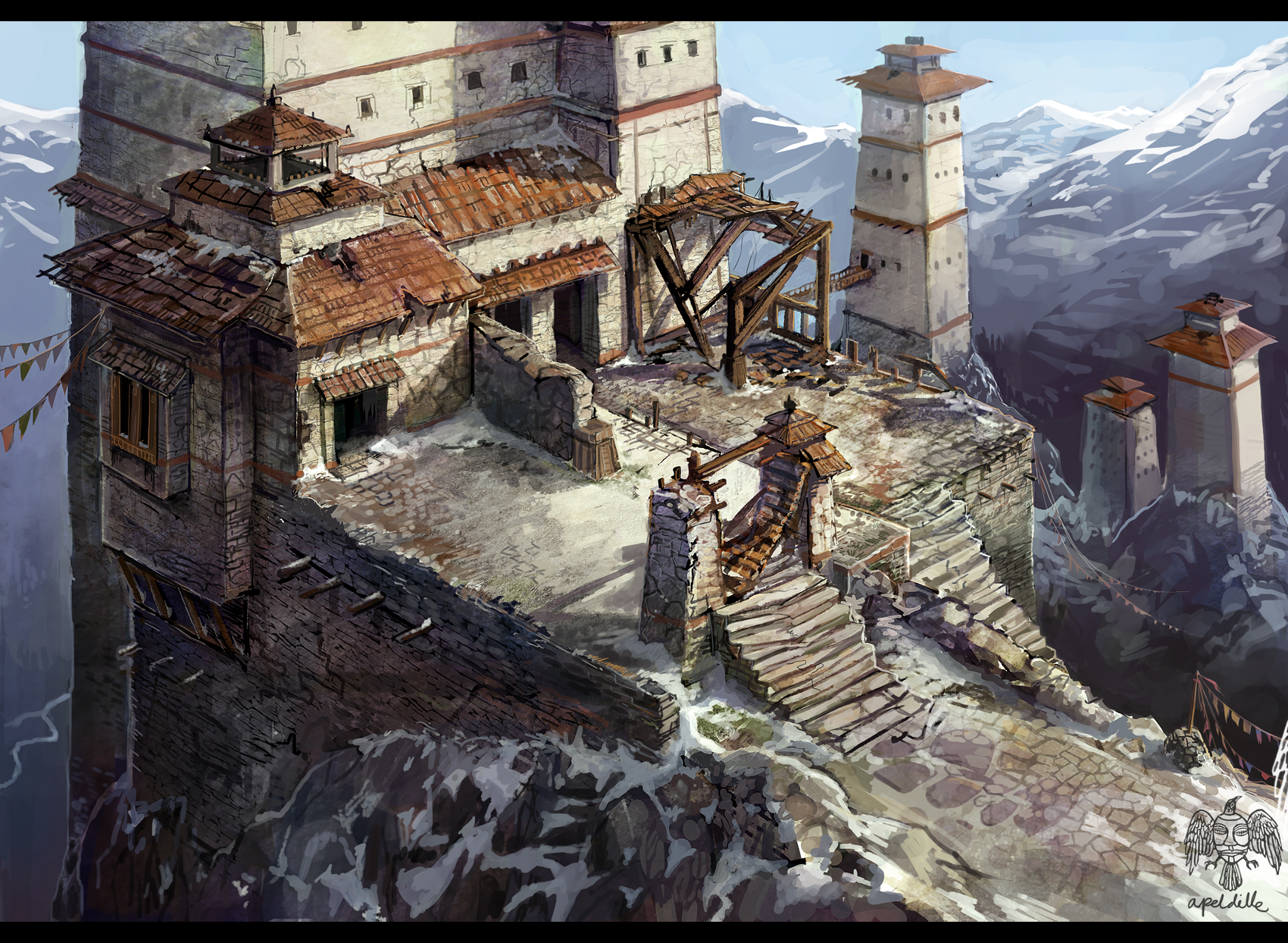 Minas cirdili this large keep has reinforced stone walls and a
