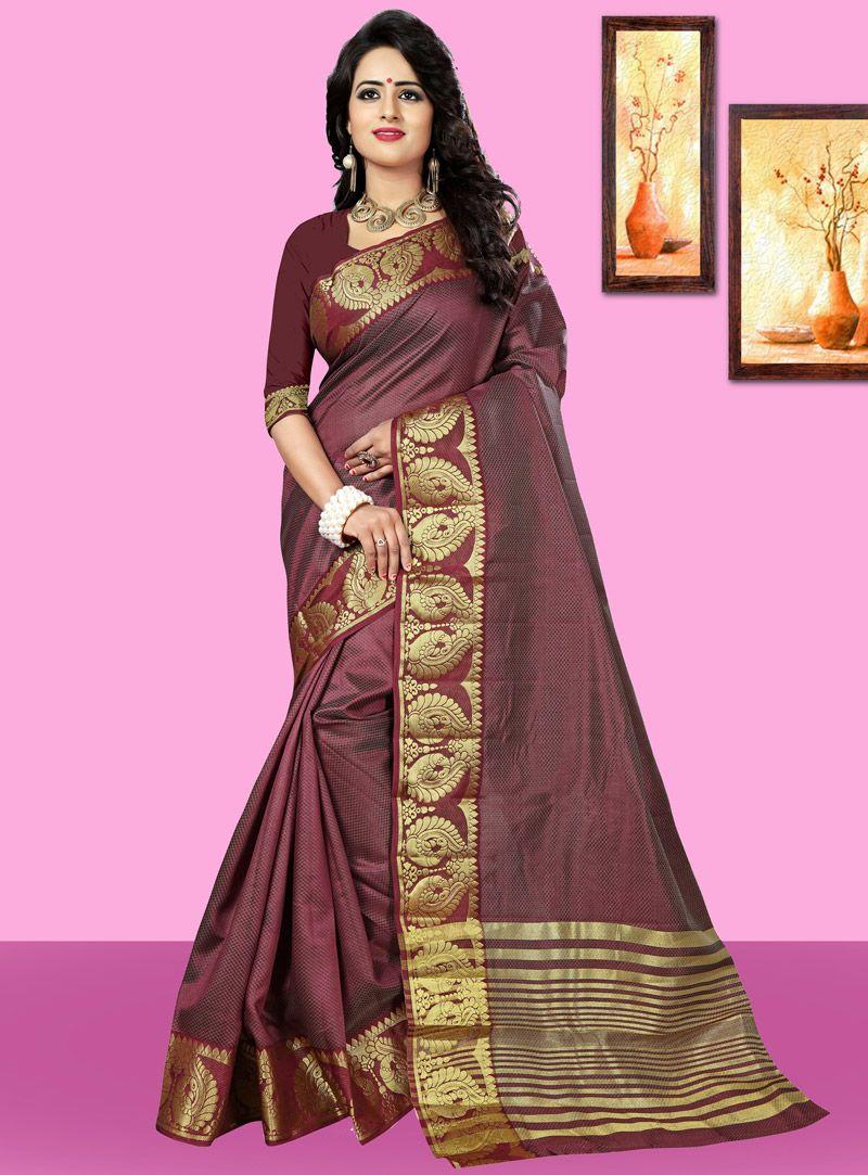 Brown Art Silk Saree With Blouse Color Pinterest