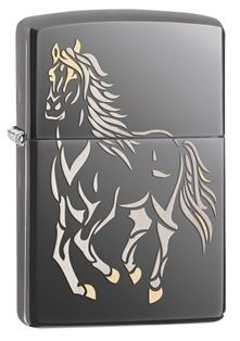 Trot along with this windproof lighter. This Black Ice® lighter features a white and brown stallion that projects against the black background making this an eye catching piece. Each Zippo Windproof lighter is made in America and comes with a lifetime guarantee! #Zippo #Lighter #MadeinUSA #AmericanMade #MadeInAmerica