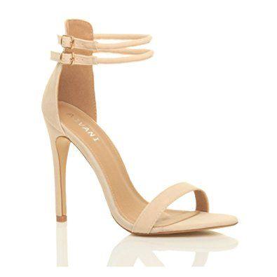Damen Sandalen Hochen Absatz Pumps Beige Sommer Schuhe