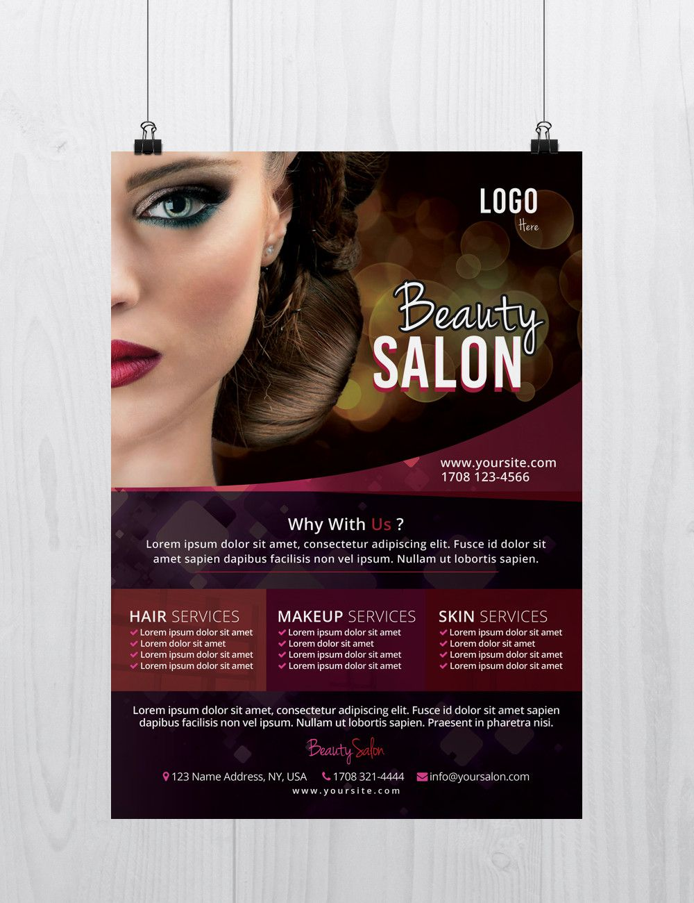 Beauty Salon Is A Free Psd Flyer Template To Download This Psd Flyer Works Perfect For Any Beauty S Free Beauty Products Free Psd Flyer Templates Beauty Salon