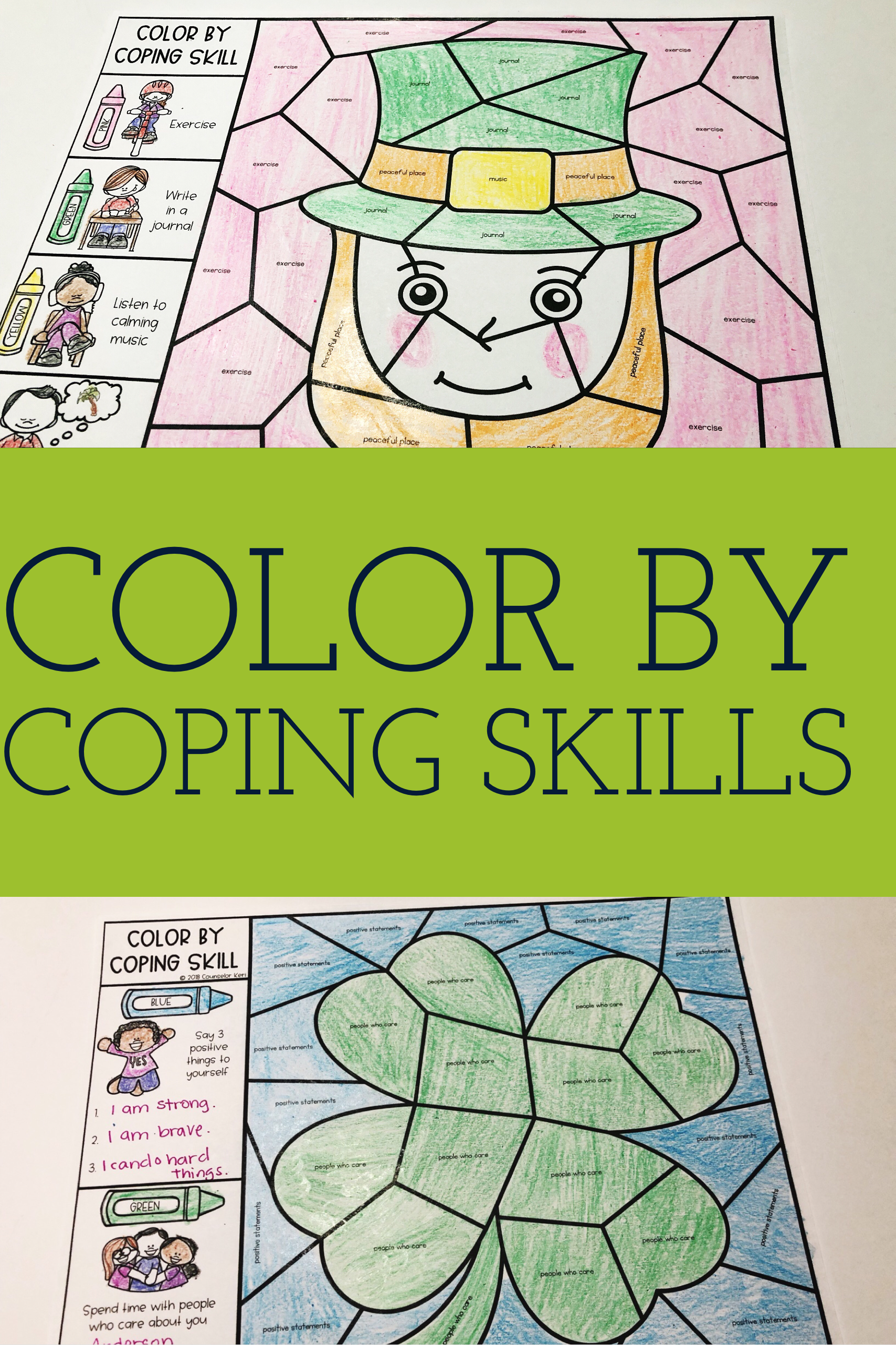 Color By Coping Skills St Patrick S Day Activity For