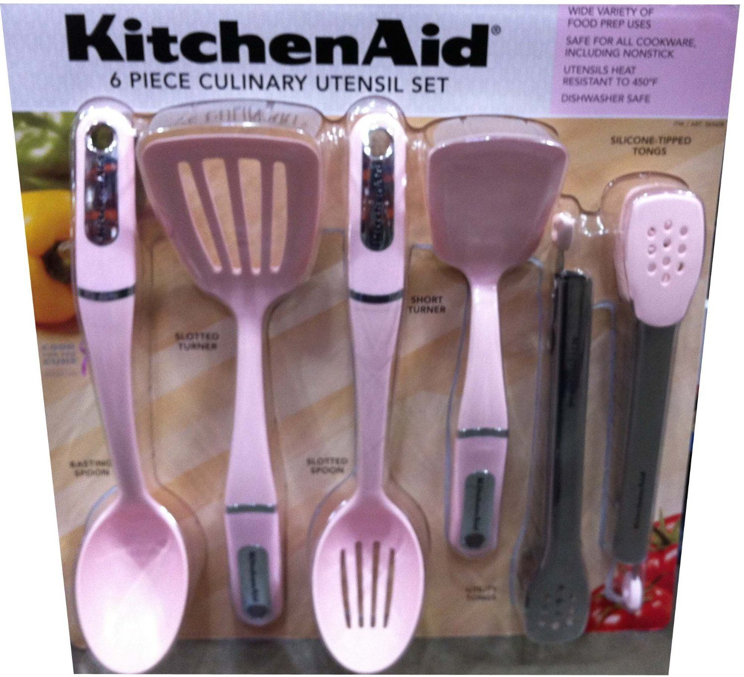 Kitchen aid 6 piece culinary utensil set in pink pink