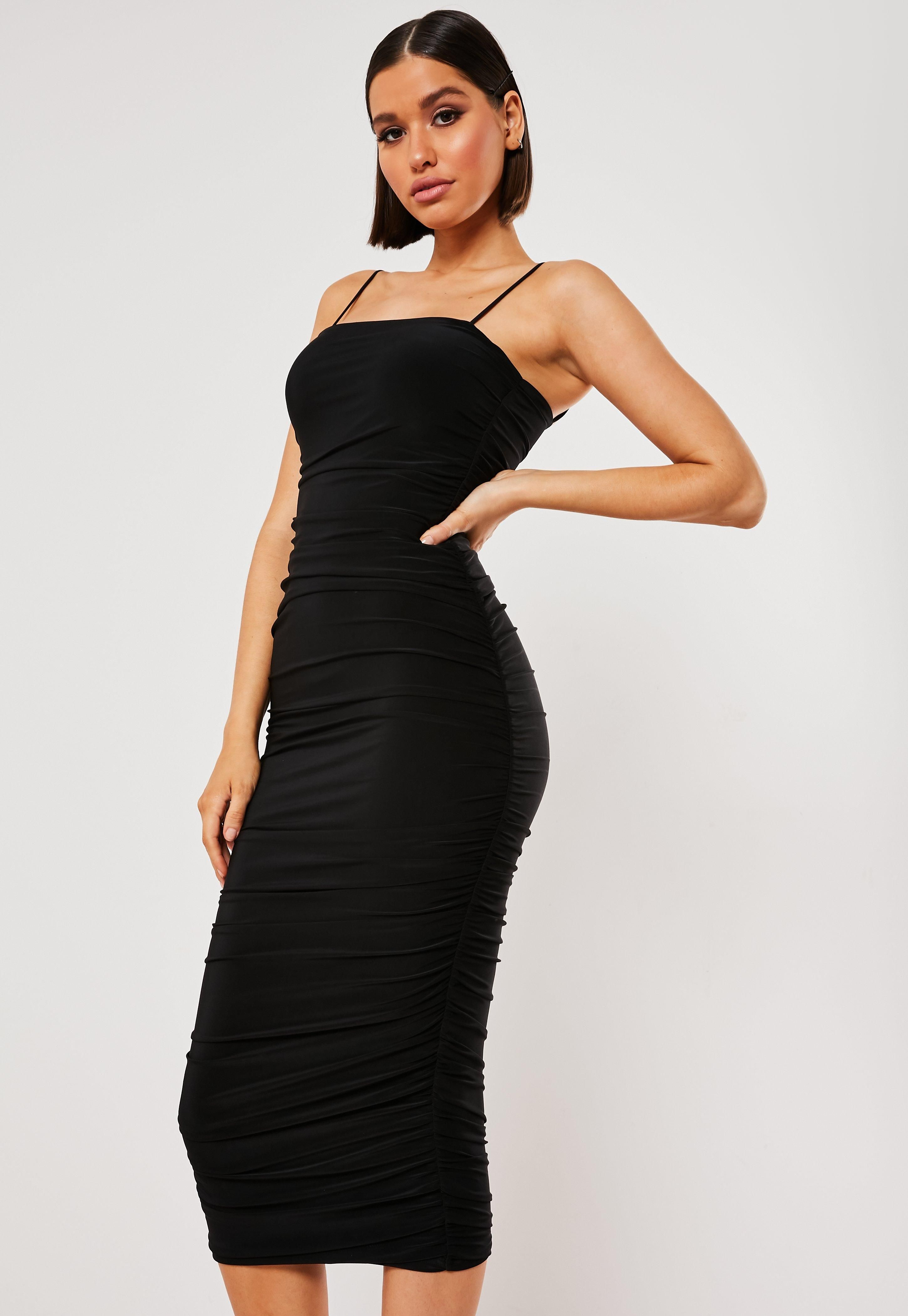 Black Slinky Ruched Cami Bodycon Midi Dress Sponsored Ruched Aff Slinky Black Dresses Womens Dresses Going Out Dresses [ 4200 x 2900 Pixel ]