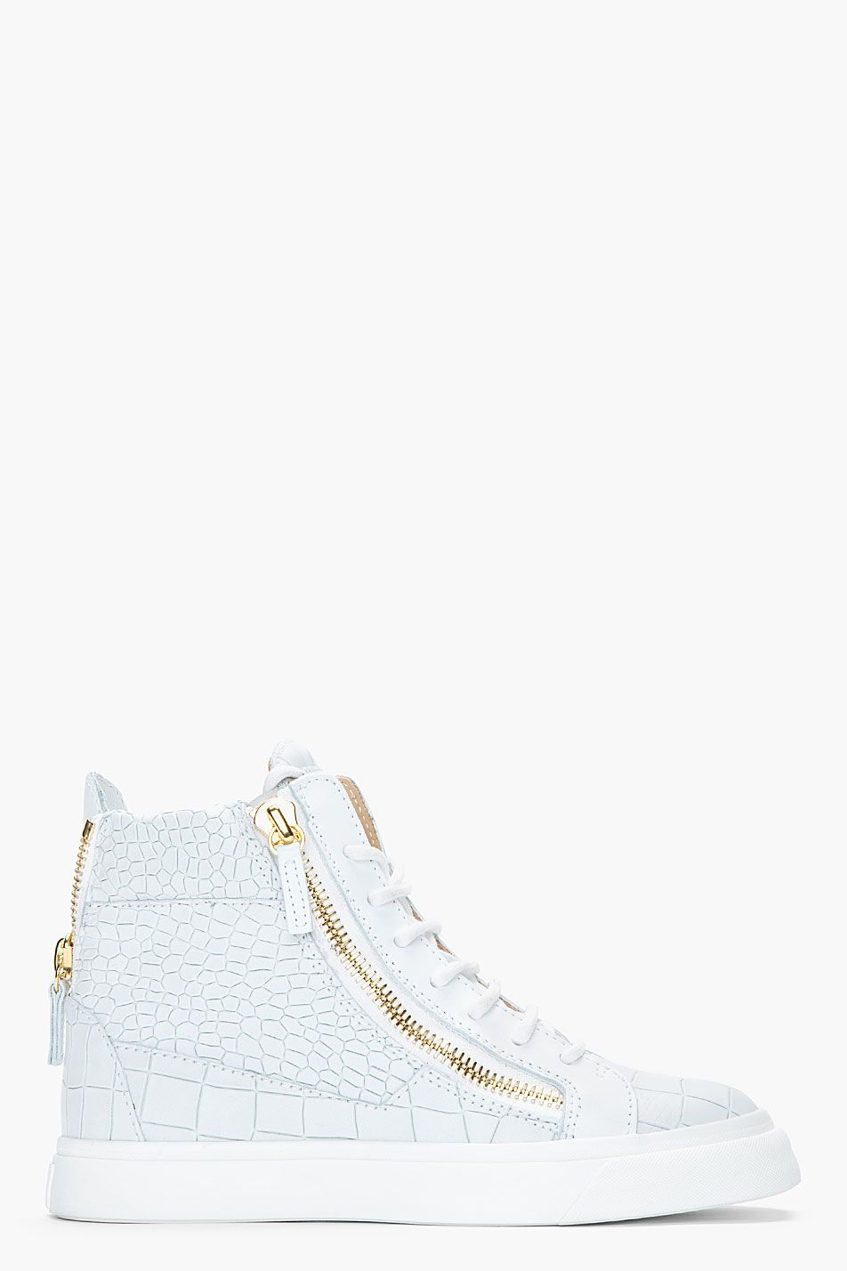 e1b3459341221 Giuseppe Zanotti Oyster Grey Croc embossed Leather London Sneakers ...