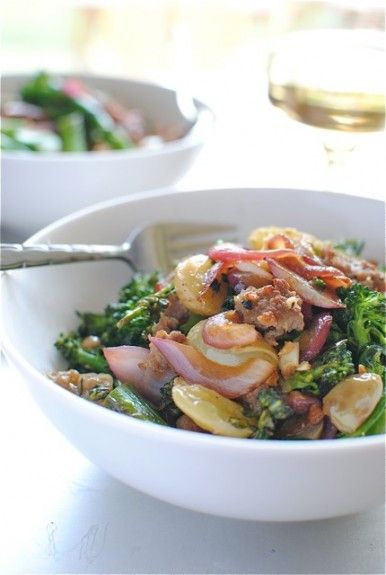 Italian Sausage with Broccolini and Grapes.