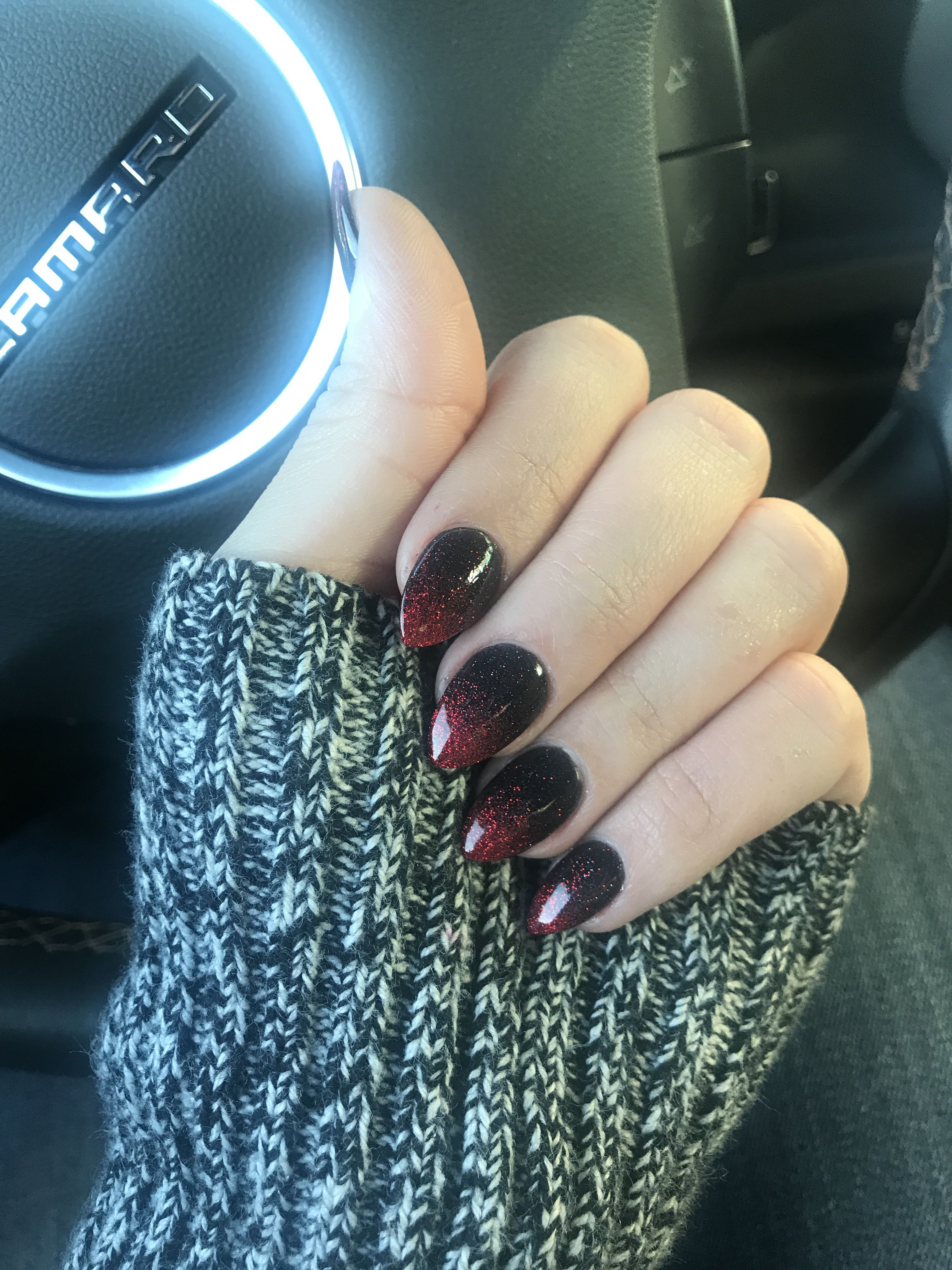 Ombre Red And Black Sparkling Nails Dip Powder Real Nails Coffin Almond Almondnails Almond Nails Designs Powder Nails Dip Powder